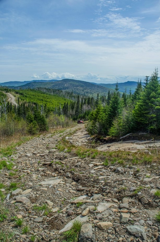 A mountain trail in the region of Saint-Donat-de-Montcalm, QC, Canada.