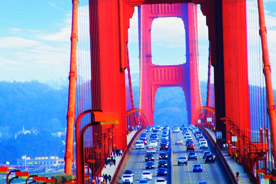 Bridge, city, golden gate, architecture, cars, traffic