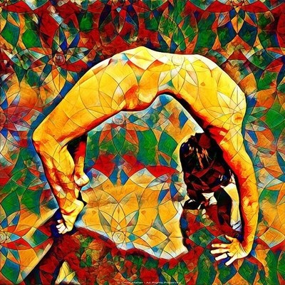 Nude Yoga Backbend in Colored Glass Rendering