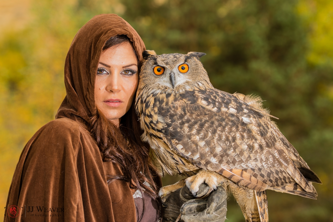 Model shoot with birds of prey
