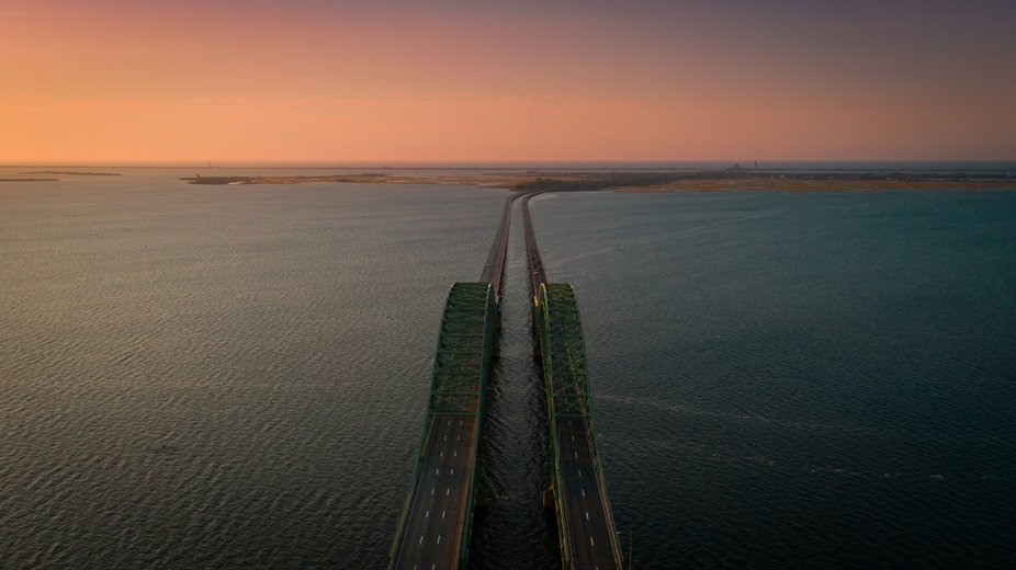 Drone shot of the South Bay Bridge looking south towards Captree Island, the Robert Moses Bridge ...