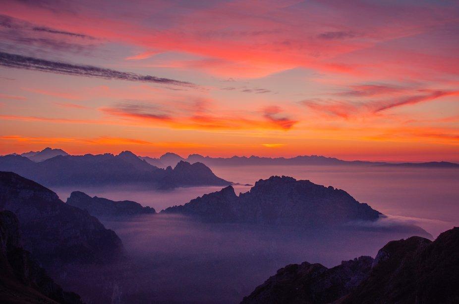 Sunrise from Rifugio Dal Piaz, Dolomites, Italy