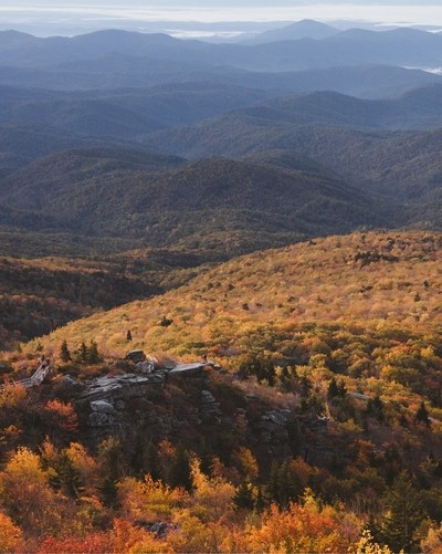 Fall color spreading over the mountains