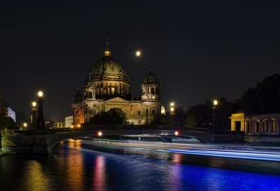 Berliner Dom and Boats at Night