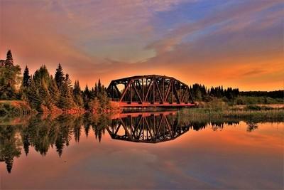 Train Bridge above The Kakabeka Falls Dam,Northwestern Ontario