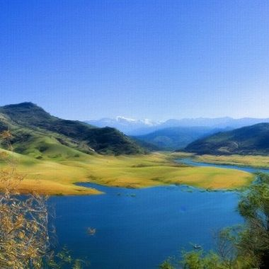 the is a stitched photo of  Lake Kaweah