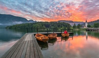 On boats at lake Bohinj