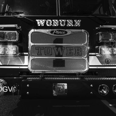 Woburn Tower 1 fire engine at truck day with lights