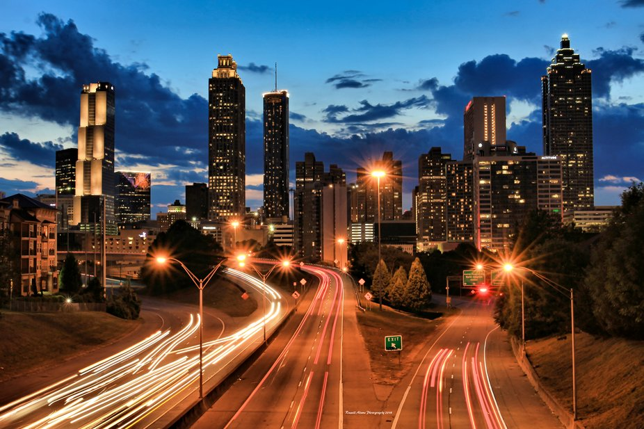 The sun has set and the lights are coming on in downtown Atlanta, Georgia.