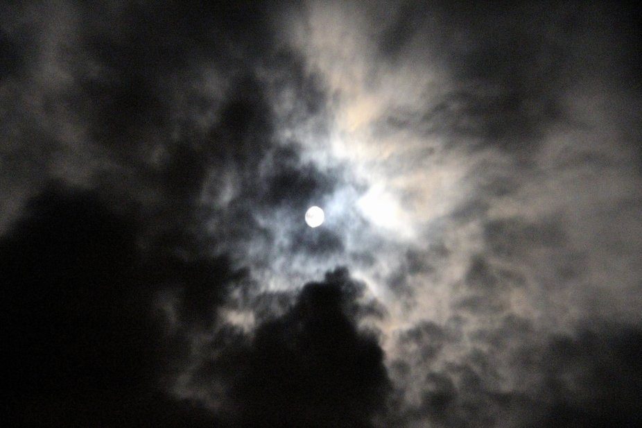 Trying to take photos of the moon on a cloudy night.