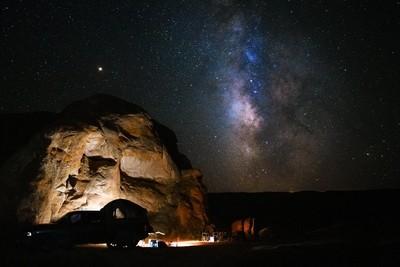 milky way galaxy above camp