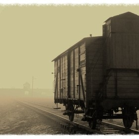 A carriage sits next to the selection platform at Auschwitz II, Birkenau as the sun begins to break through the early morning fog.