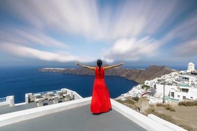 The Little Red Riding Hood enjoying the Santorini View