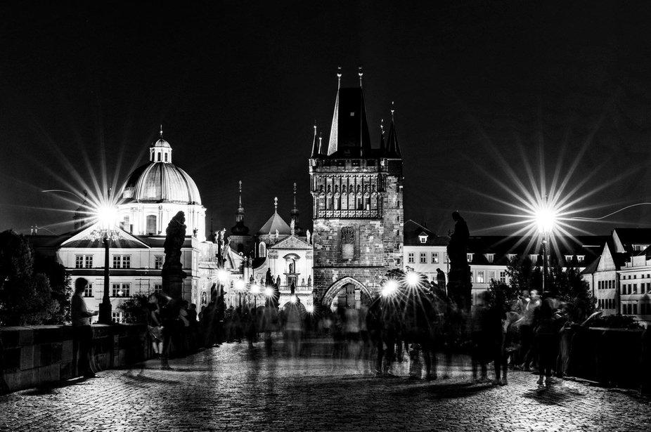 Crowded bridge in Prague
