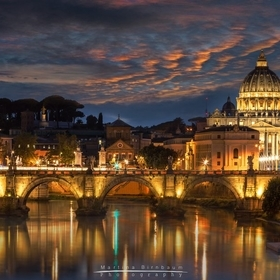 St Peters Basilica and Angels Bridge at night