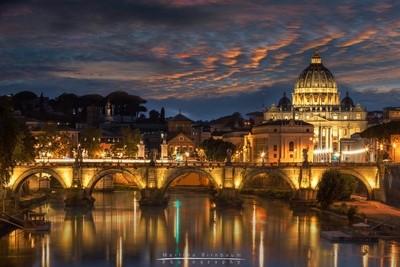 St Peters Basilica and Angels Bridge at night