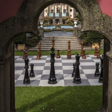 This very large chess set is a feature of the Village centre at Portmeirion.
