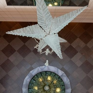 This glass sculpture is suspended from the ceiling at the Conference Center of the Church of Jesus Christ of Latter-day Saints in Salt Lake City, Utah.