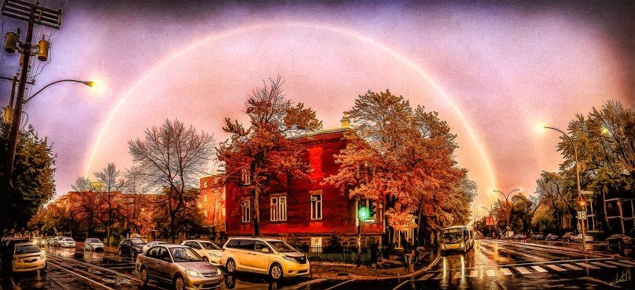 Amazing double rainbow on a rainy october day
