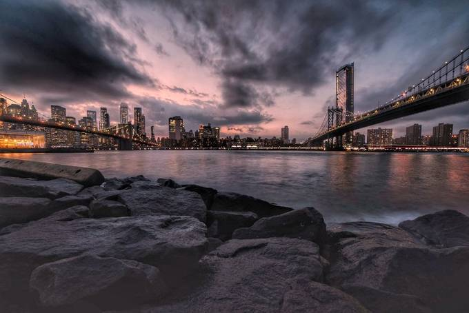 Two Bridges by AllyS - Bright City Lights Photo Contest