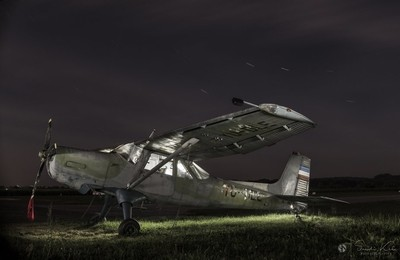 Old plane at night, Slovenia