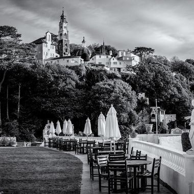 A Promenade in front of the Portmeirion Hotel with an excellent view of the higher Village architecture and out into the estuary.