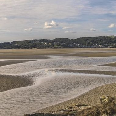 The estuary of the River Dwyryd at Portmeirion. Looking across towards Borth y Gest near Porthmadog