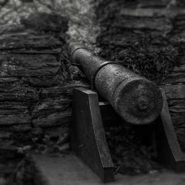 An old canon points and waits in a derelict castle in a forest.