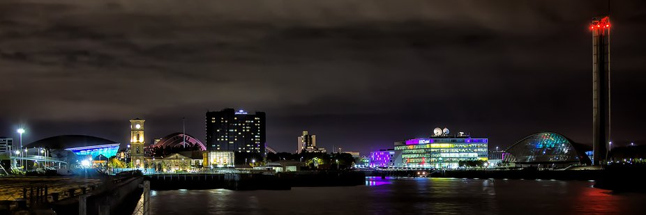looking upstream from the riverside museum towards the city ant aroud 9pm