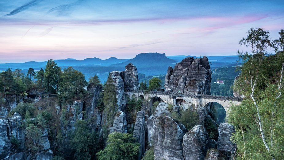 Bastei Bridge in the Saxon Switzerland, Germany just before sunrise.