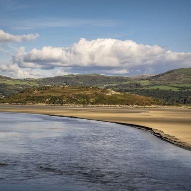 The estuary sandbanks of the River Dwyryd at Portmeirion
