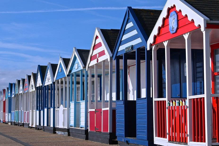 Beach huts on the sea front at Southwold, Suffolk,