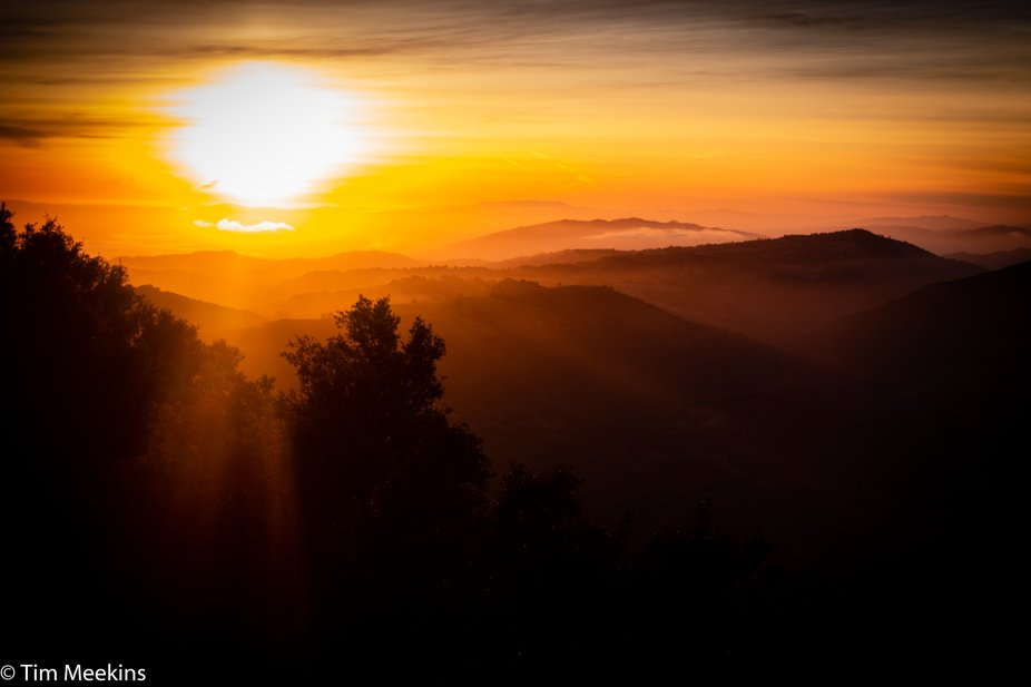Sunset from Lick Observatory, California.