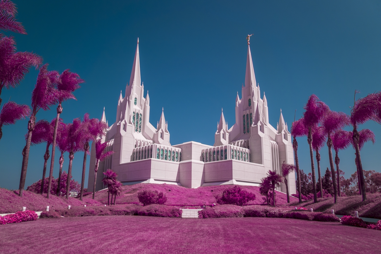 The San Diego LDS (The Church Of Jesus Christ Of Latter Day Saints) Temple. Taken with a Sony A6000 full spectrum converted camera using an external hyper color infrared filter from Lifepixel.