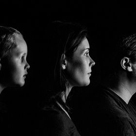 Black and White Side Portrait of Family