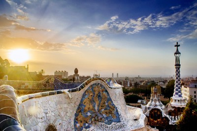 Sunrise in Park Guell, Barcelona