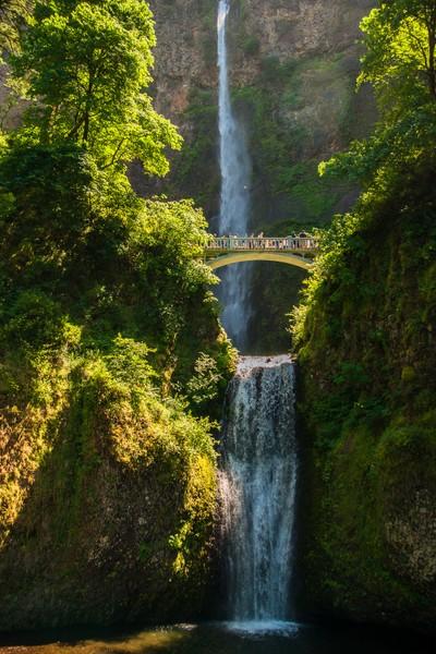 Multnomah Falls in Afternoon Sun