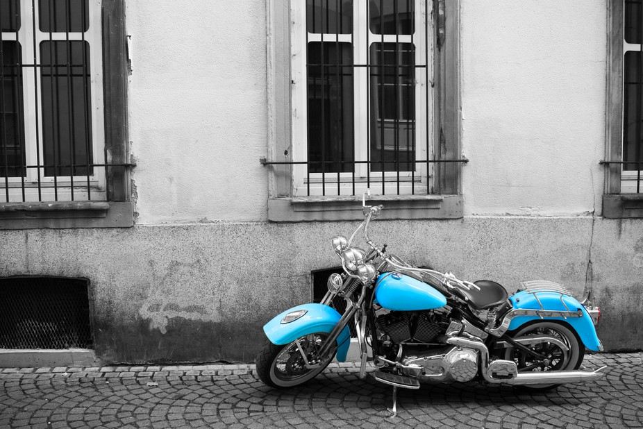 Found this beautiful bike on a small road in Basel, blue is its natural color, I just enhanced it...