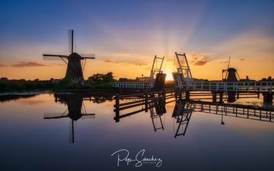 Sunset between mills