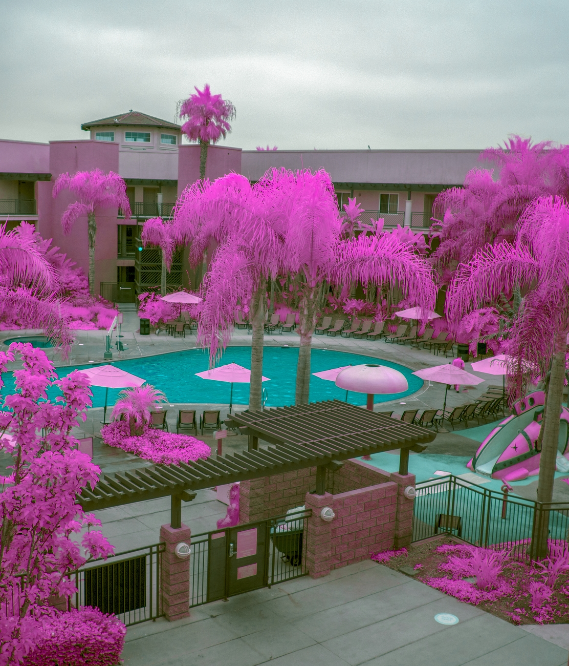 Taken in Infrared, swimming pool and trees.