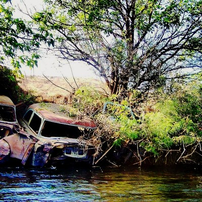 On the banks of this beautiful Idaho river are a line of old cars. At one point in the past the bank was eroding away so the city of Emmette decided to use junk yard cars to reinforce the vegitation. Some people have siggested removing them but after 50+