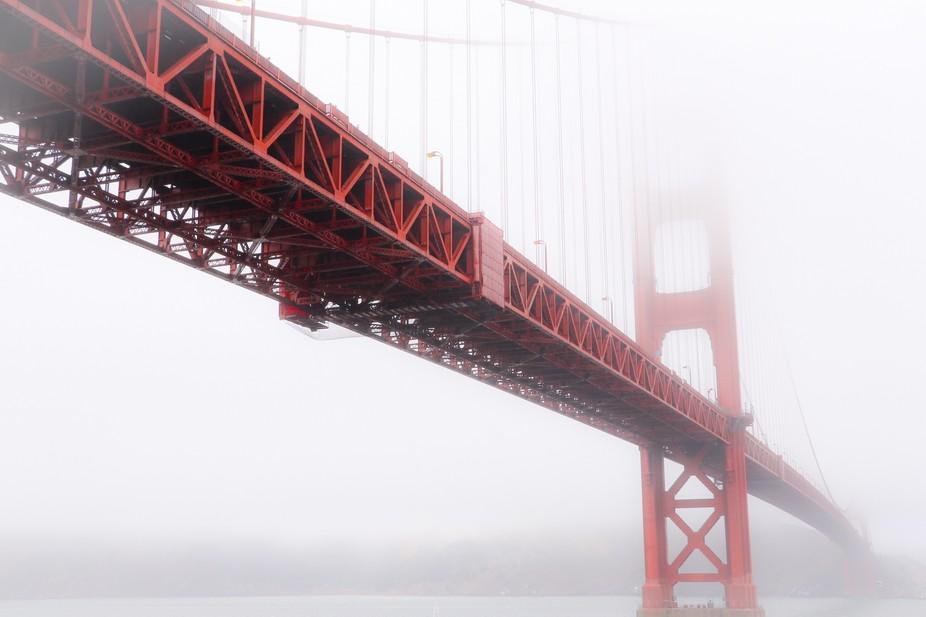 A typical foggy image of San Frsncisco's Golden Gate Bridge