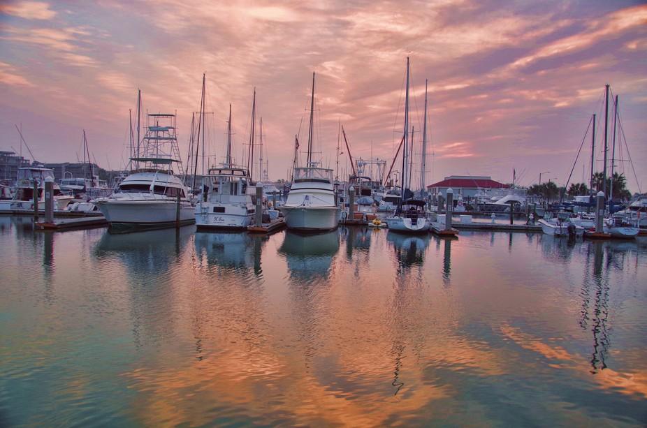 Boats at rest in harbor at Port Aransas, Texas