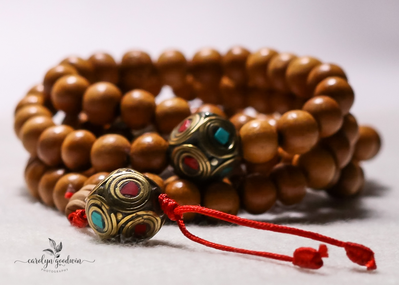 Wooden Mala with colorful guru beads