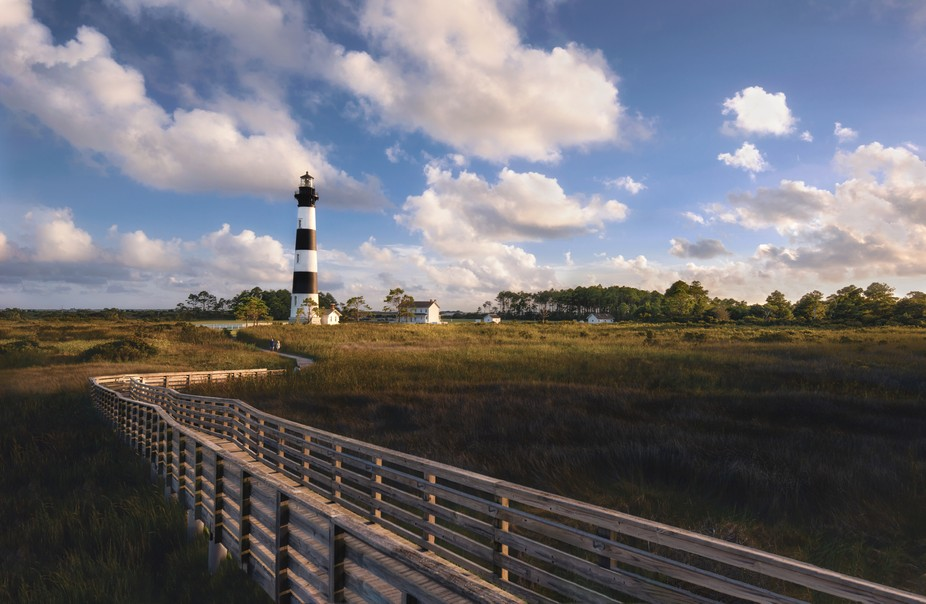 Boardwalk to a Beautiful Lighthouse on a lovely Evening