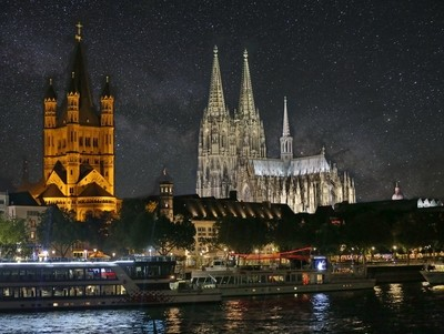 Cologne Cathedral, Gross St. Martin Church and the Rhine River Waterfront