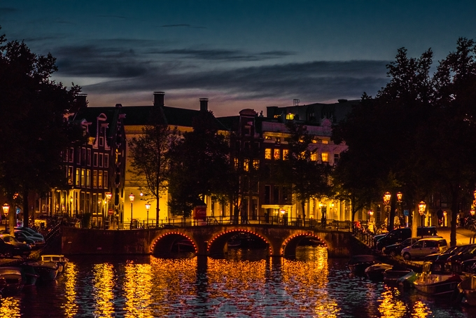 Twilight over the canal by claudiofornaciari - Bright City Lights Photo Contest