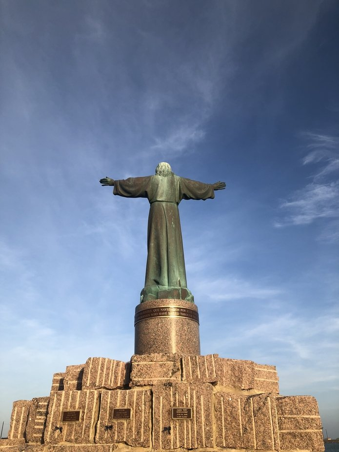 This statue is located at South Padre Island. It was erected for fishermen who have lost their li...