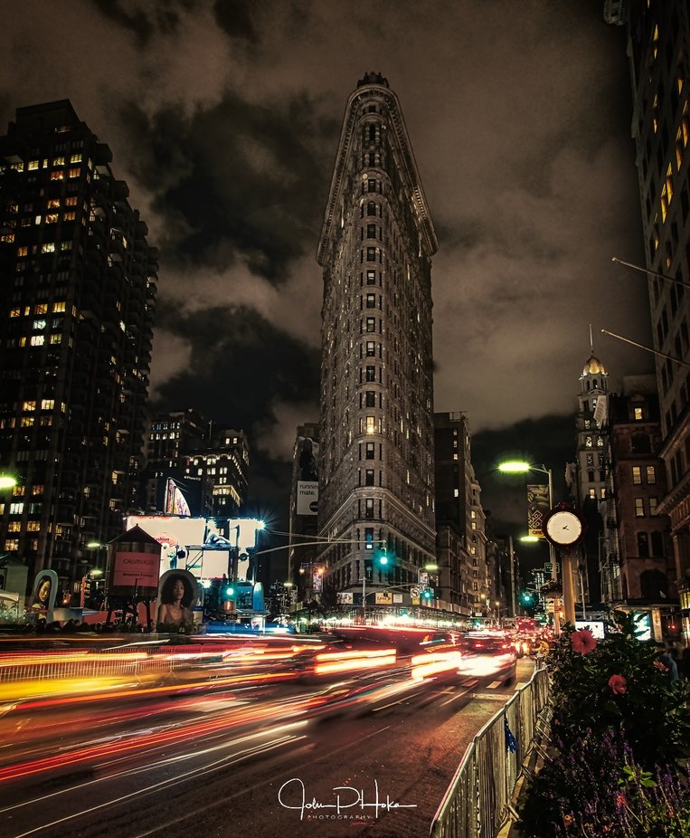Flatiron Building NYC - Night Moves by JohnHoke - Bright City Lights Photo Contest