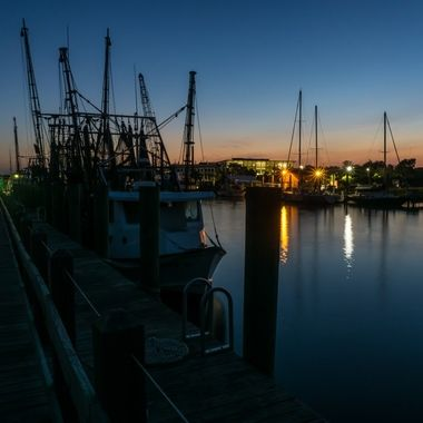 Shrimp boats at the pier on Shem Creek, Mount Pleasant, South Carolina